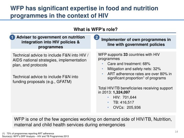 WFP has significant expertise in food and nutrition programmes in the context of HIV
