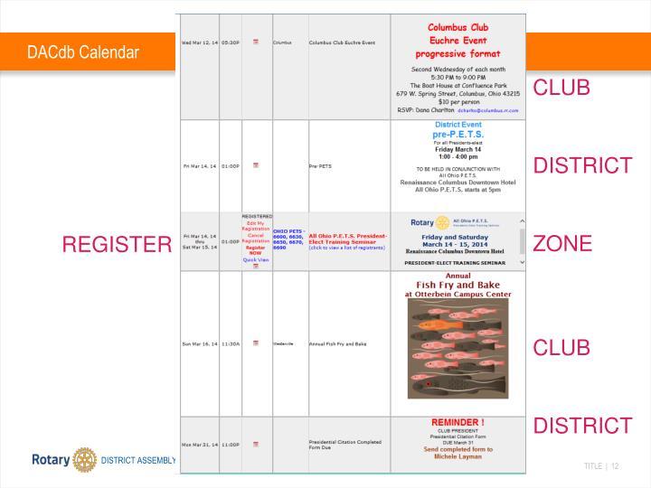 DACdb Calendar