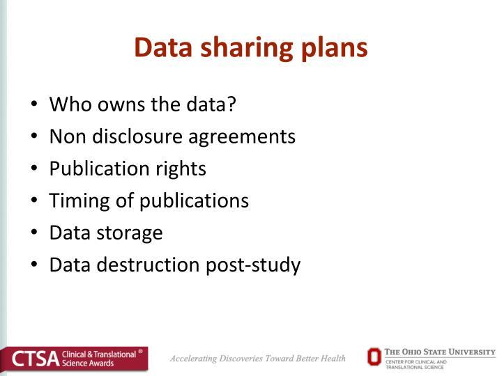 Data sharing plans