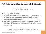 a interazioni tra due variabili binarie