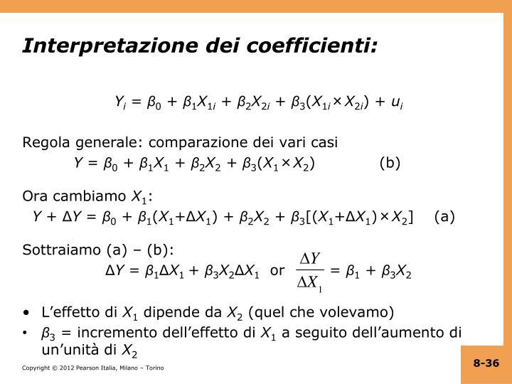 Interpretazione dei coefficienti: