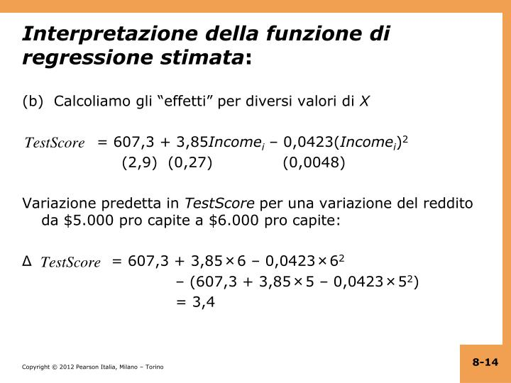Interpretazione della funzione di regressione stimata