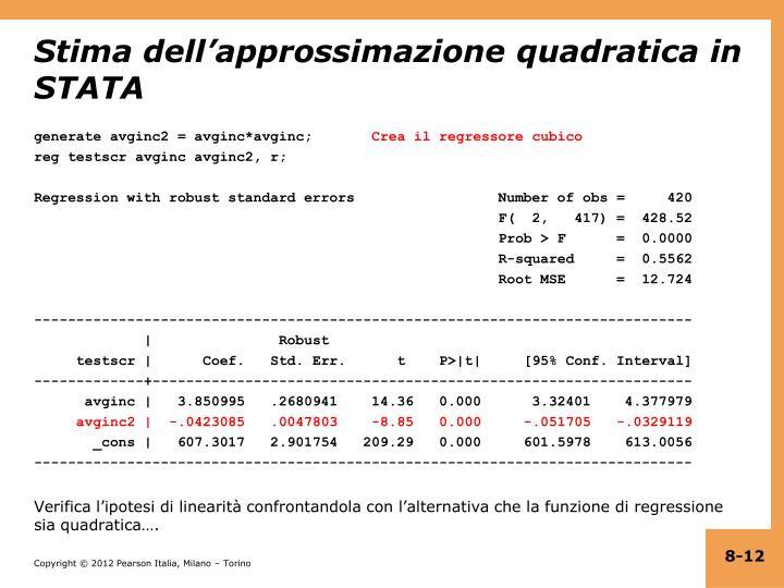 Stima dell'approssimazione quadratica in STATA