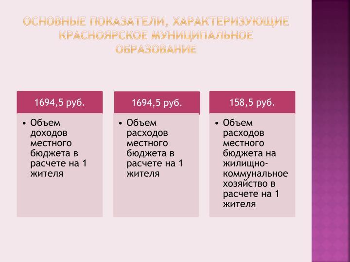 Основные показатели, характеризующие Красноярское муниципальное образование