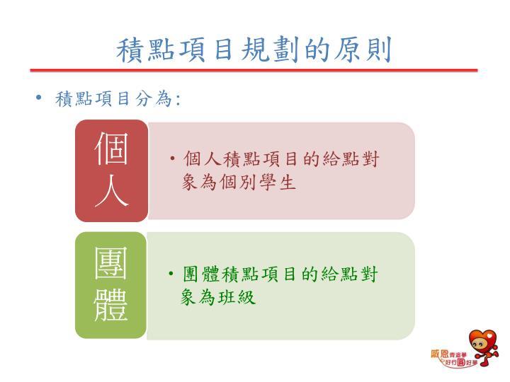 積點項目規劃的原則
