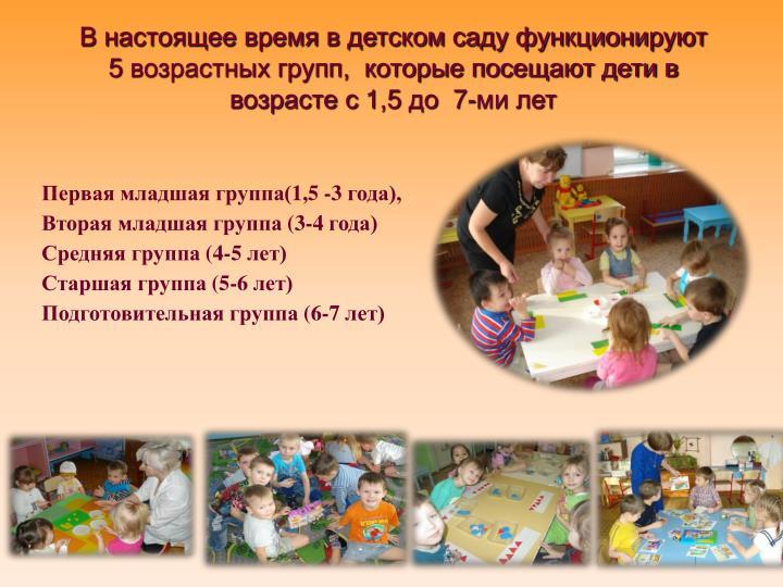В настоящее время в детском саду функционируют