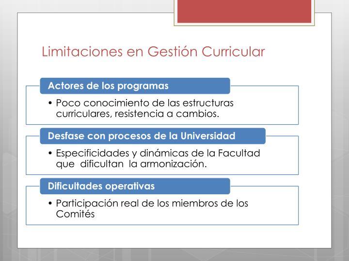 Limitaciones en Gestión Curricular