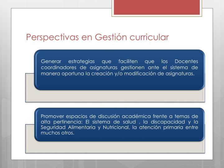 Perspectivas en Gestión curricular