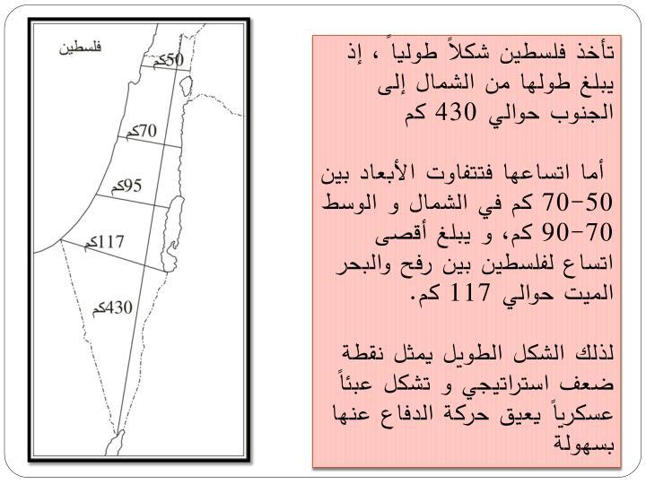 تأخذ فلسطين شكلاً طوليا ً، إذ يبلغ طولها من الشمال إلى الجنوب حوالي 430 كم