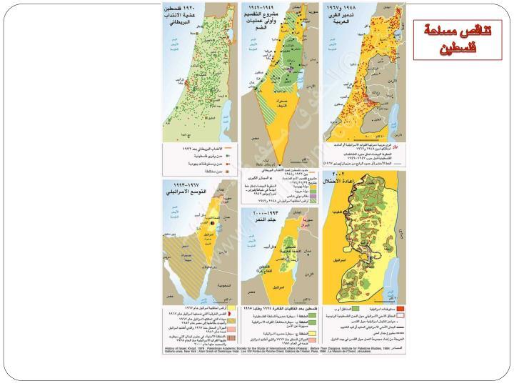 تناقص مساحة فلسطين