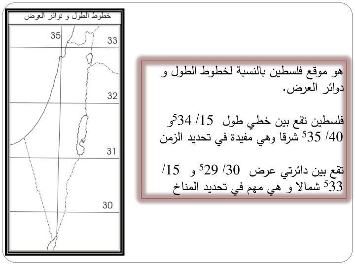 هو موقع فلسطين بالنسبة لخطوط الطول و دوائر العرض.