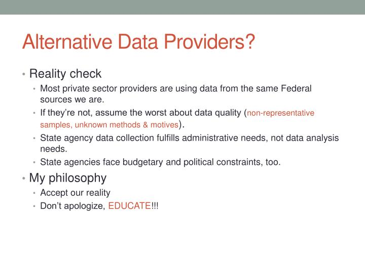 Alternative Data Providers?
