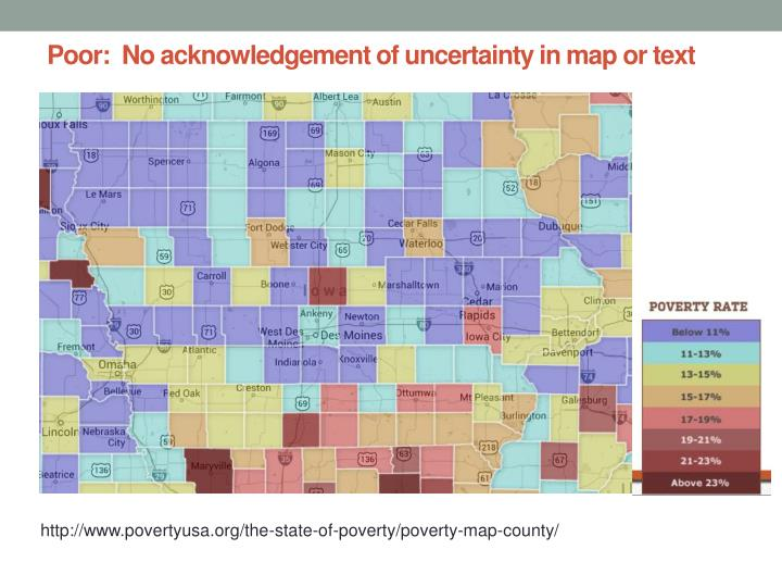Poor:  No acknowledgement of uncertainty in map or text