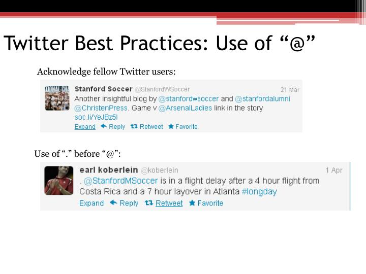"Twitter Best Practices: Use of ""@"""
