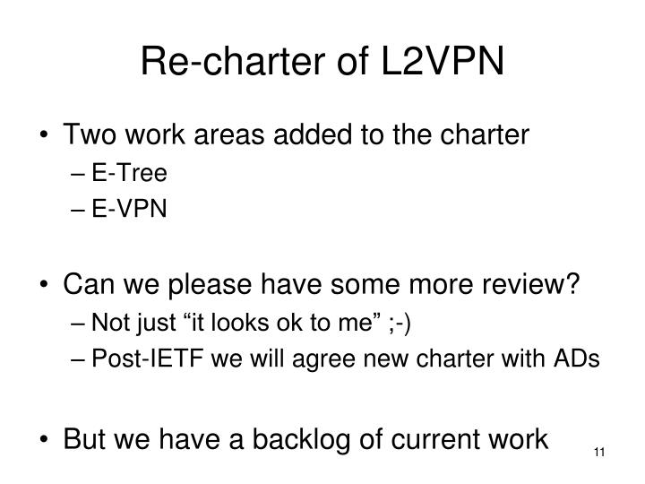 Re-charter of L2VPN