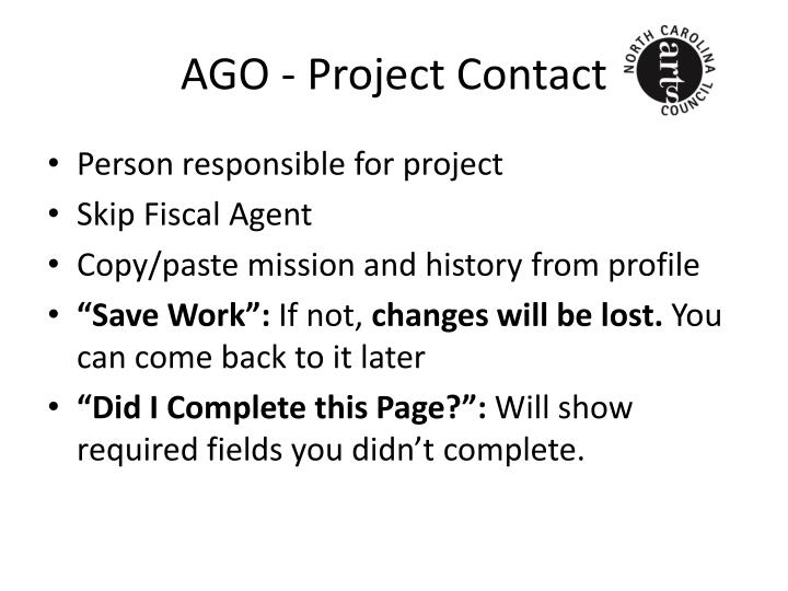 AGO - Project Contact