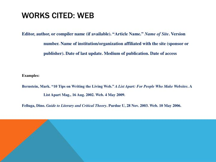 Works Cited: Web