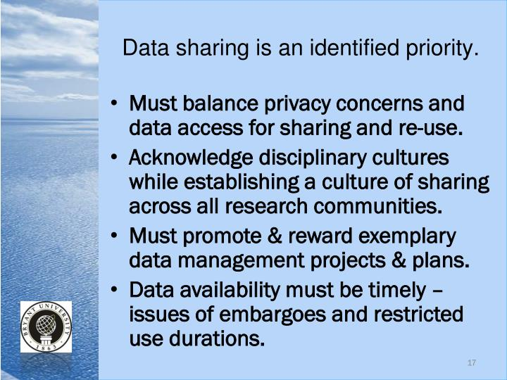 Data sharing is an identified priority.