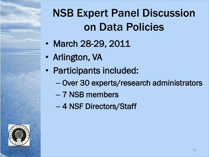 NSB Expert Panel Discussion on Data Policies