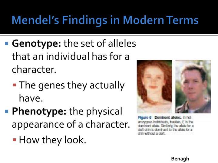 Mendel's Findings in Modern Terms