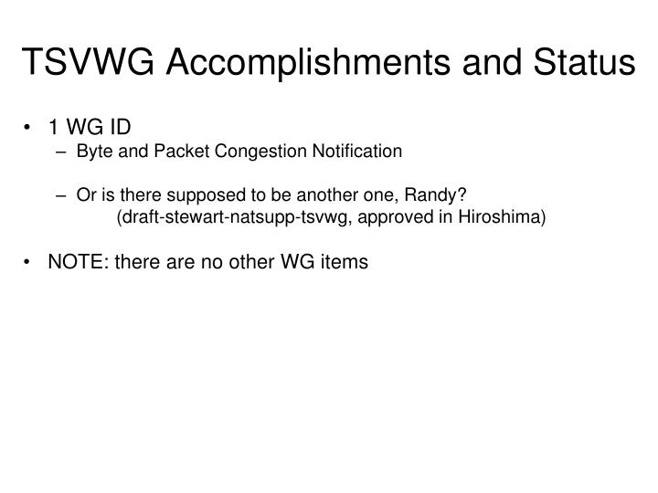TSVWG Accomplishments and Status