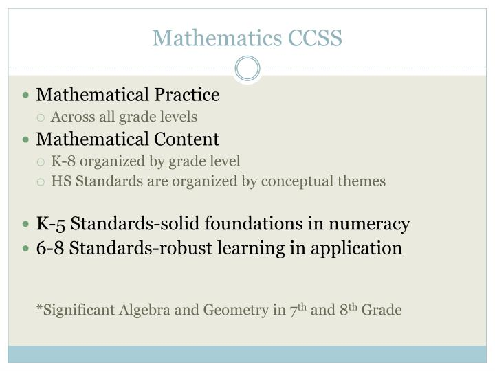 Mathematics CCSS