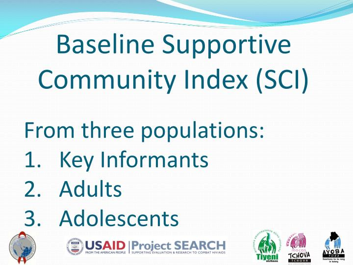 Baseline Supportive Community Index (SCI)