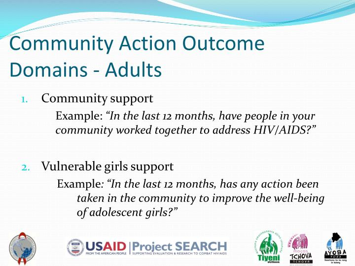 Community Action Outcome Domains - Adults