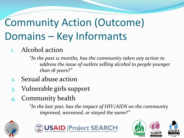 Community Action (Outcome) Domains – Key Informants