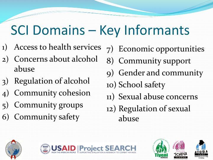 SCI Domains – Key Informants