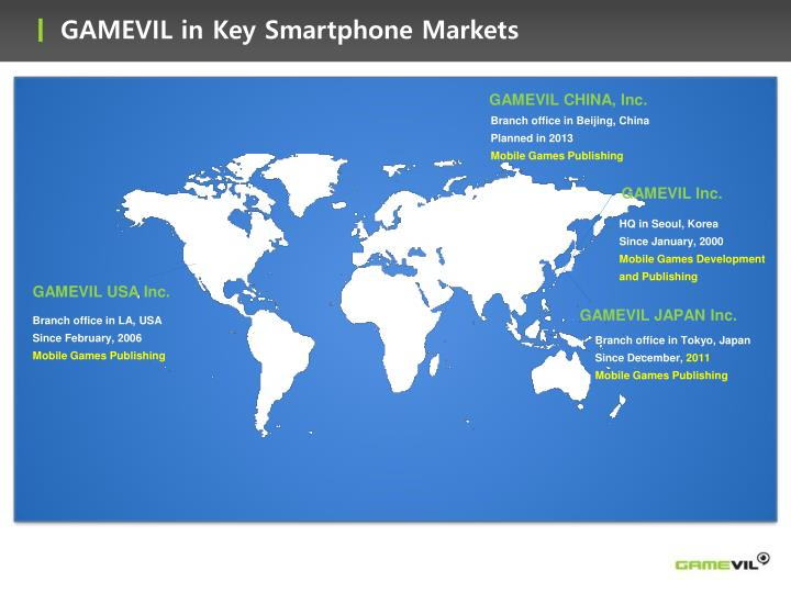 GAMEVIL in Key Smartphone Markets