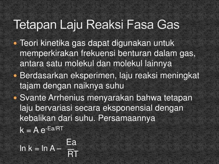 Tetapan Laju Reaksi Fasa Gas