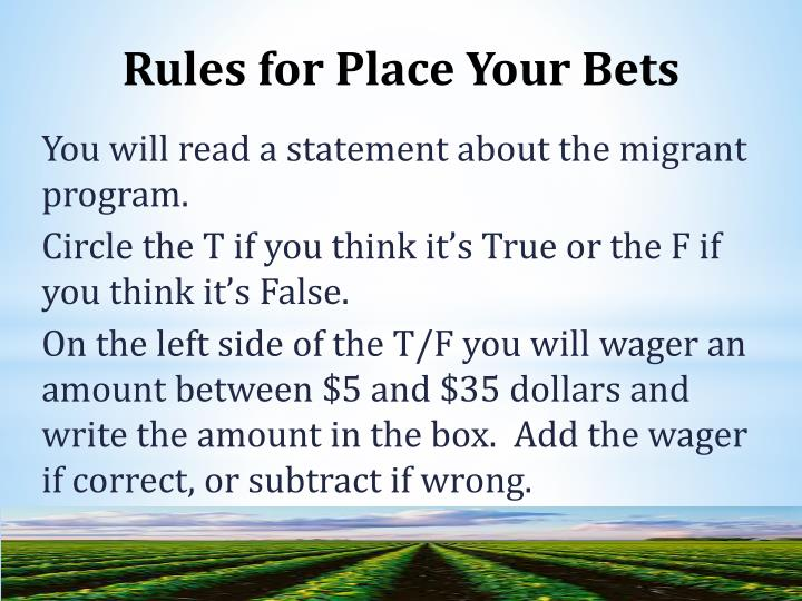 Rules for Place Your Bets