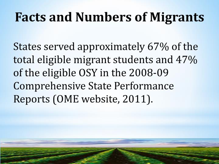 Facts and Numbers of Migrants
