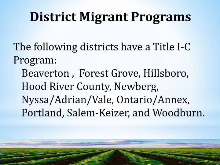 District Migrant Programs