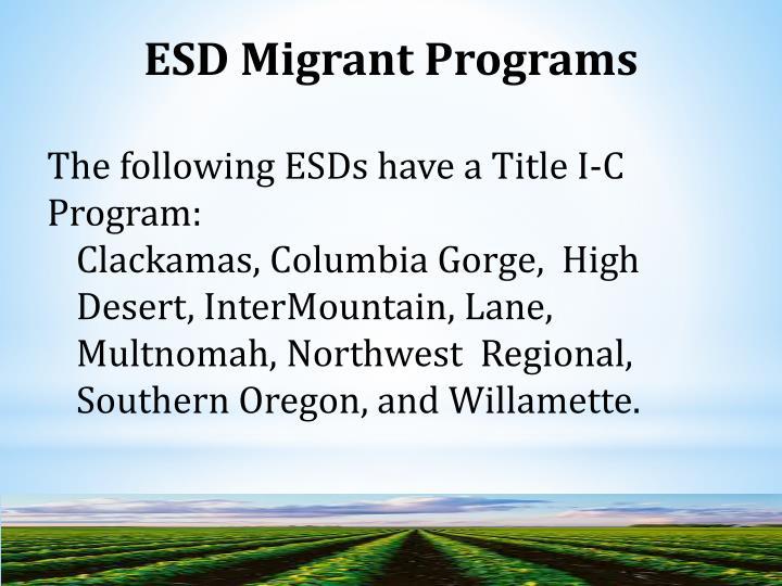 ESD Migrant Programs