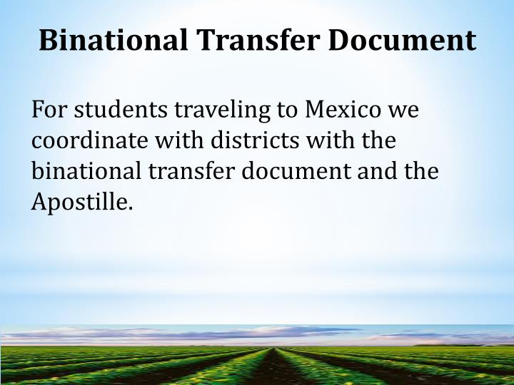 Binational Transfer Document