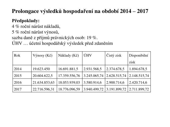 Prolongace výsledků hospodaření na období 2014 – 2017