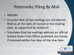 postmarks filing by mail