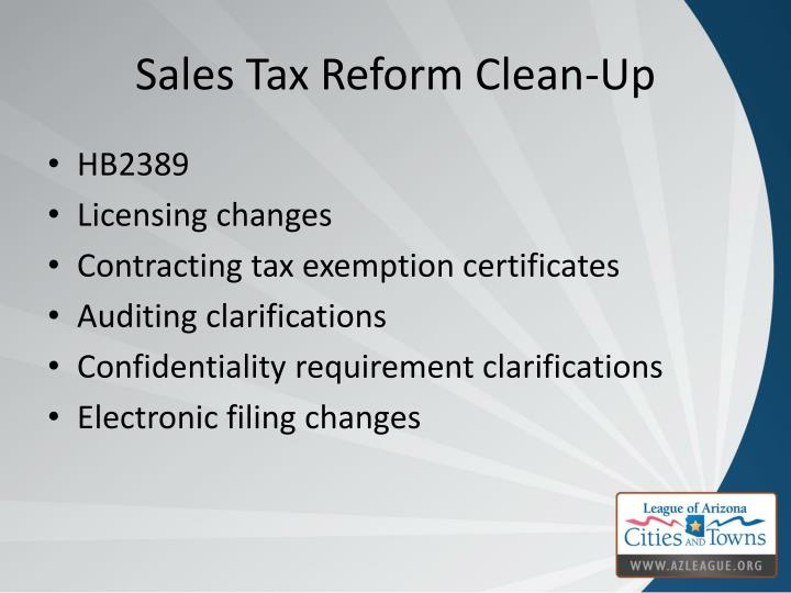 Sales Tax Reform Clean-Up
