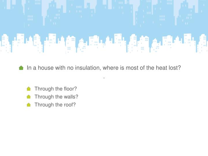 In a house with no insulation, where is most of the heat lost?