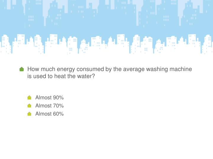 How much energy consumed by the average washing machine is used to heat the water?