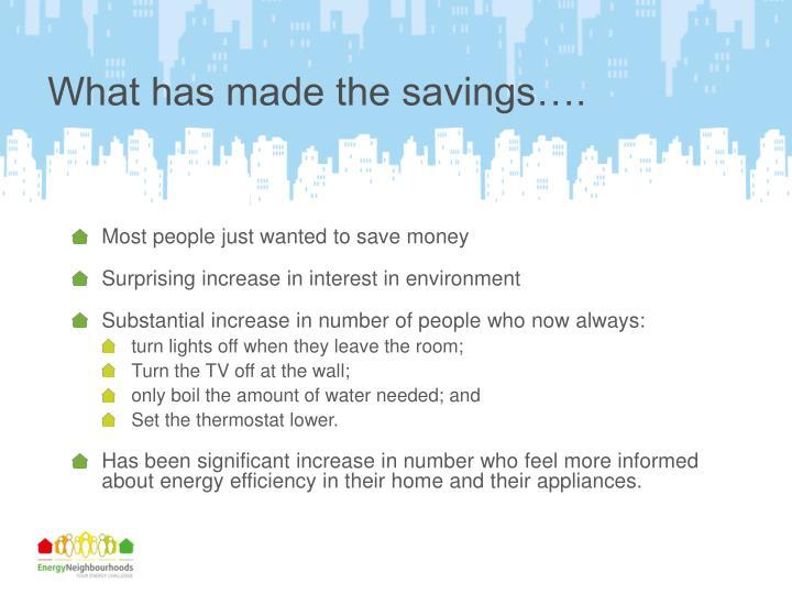 What has made the savings….
