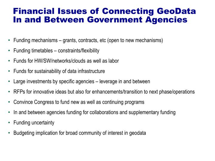 Financial issues of connecting geodata in and between government agencies