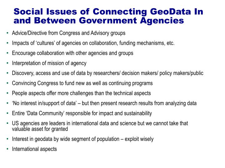 Social issues of connecting geodata in and between government agencies