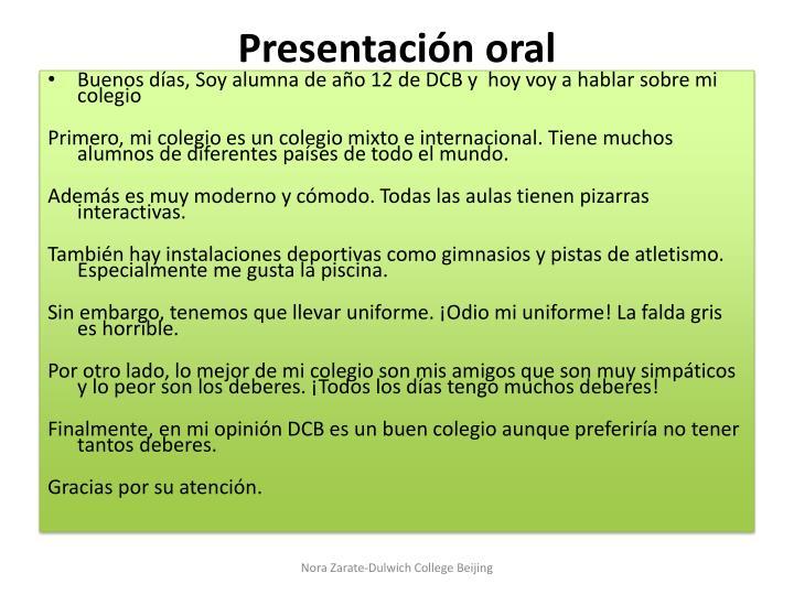 Presentación oral