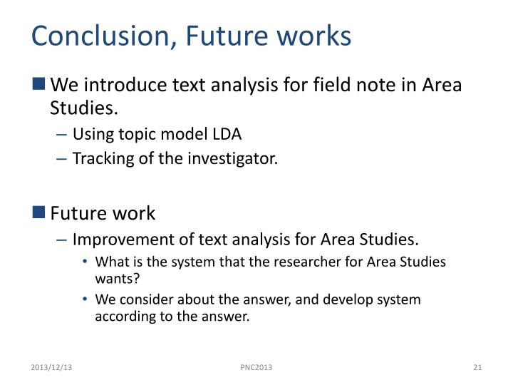 Conclusion, Future works