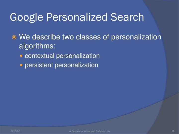 Google Personalized Search