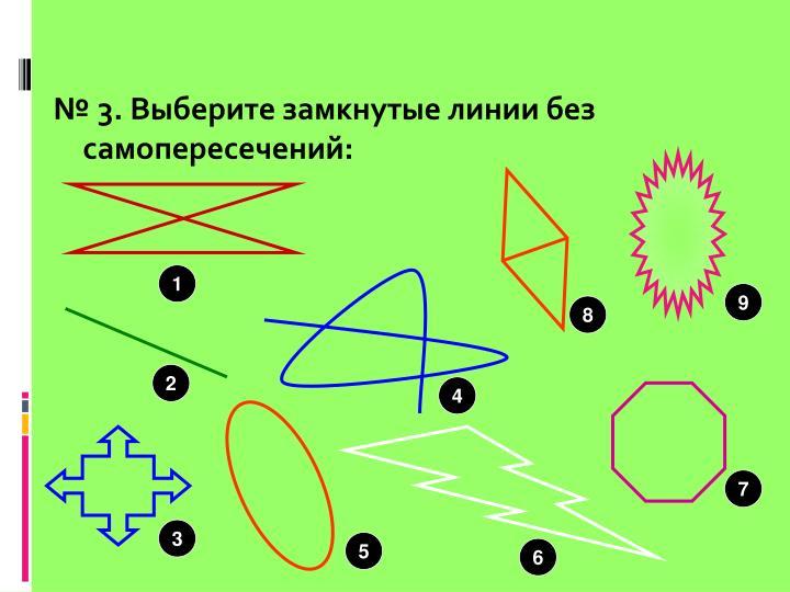 № 3. Выберите замкнутые линии без самопересечений: