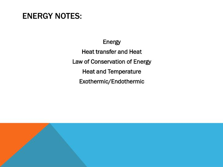Energy Notes: